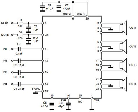 Tda7388 Tda 7388 4x41w Bridge Car Audio Lifier tda7388 typical application reference design audio power lifier arrow