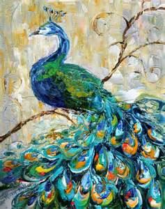 Texture Paint Designs For Drawing Room original oil painting peacock impressionistic impasto art by