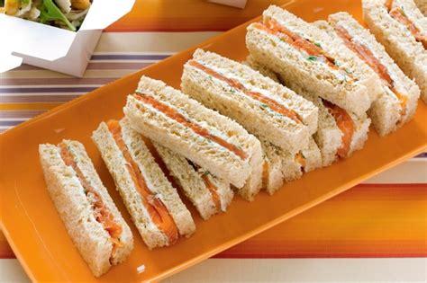 salmon and herb cream finger sandwiches recipe taste com au