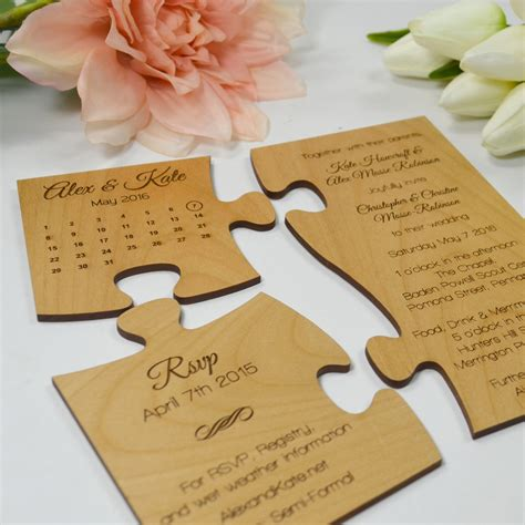 Wedding Invitation Jigsaw Puzzle by Engraved Wooden Save The Date Puzzle Personalized Favors