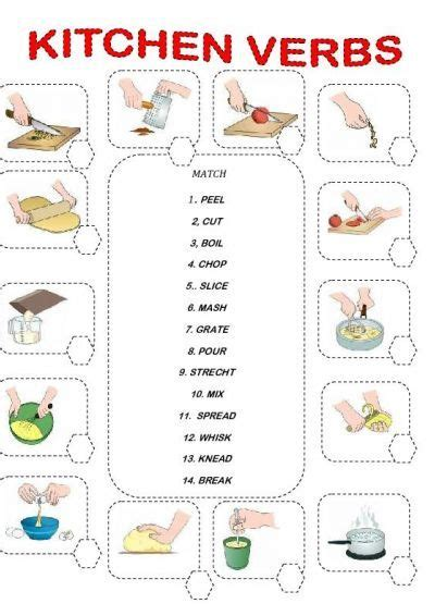 Cooking Vocabulary Worksheet by Kitchen Verbs Education Food Preparation And Esl