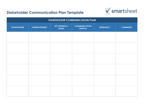 stakeholder communication plan template plan template