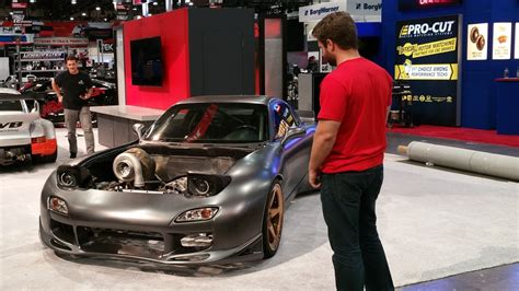 rob dahm rx7 unveiling the world s first awd 4 rotor rx 7 at sema 2016