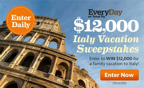 Rachael Ray Giveaway A Day - every day with rachael ray 12 000 italy vacation sweepstakes quot deal quot ectable mommies