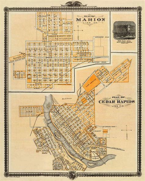 map of cedar rapids iowa map of cedar rapids antique map vintage map