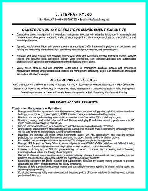 Construction Resume Exles And Sles by Simple Construction Superintendent Resume Exle To Get Applied