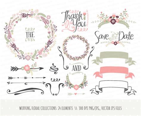 wedding design elements vector decoration clipart hand pencil and in color decoration