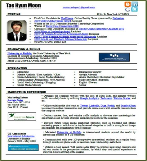 new resume format tae hyun moon innovative marketer new resume format in