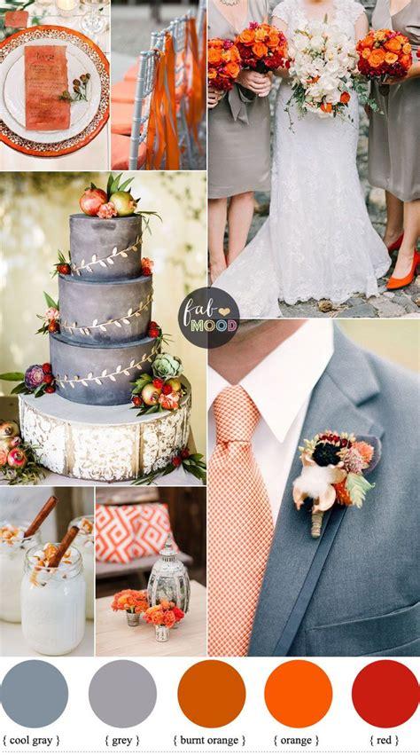 november wedding colours grey and shades of orange wedding palette november wedding colors