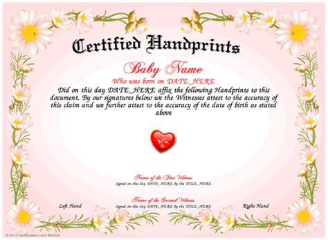 design your own certificate templates free baby handprints use our free template printable