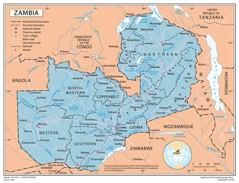 zambia map political map of zambia zambia political map vidiani maps of all countries in