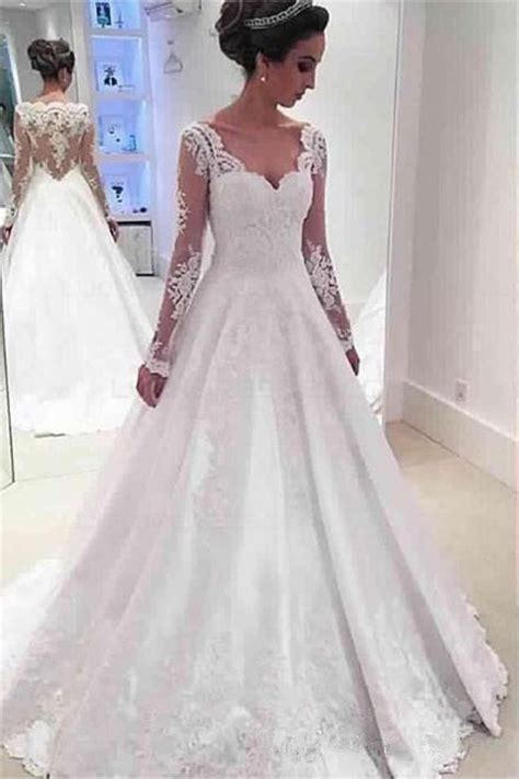 Sleeve Lace A Line Dress a line sleeves lace wedding dresses bridal gowns 3030273