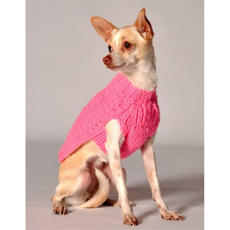 puppies in sweaters chilly pink cable knit sweater at glamourmutt