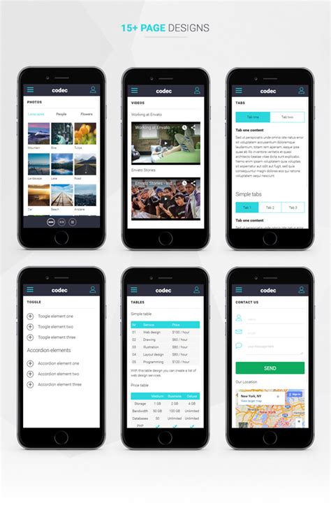 codec mobile html template mobile free download