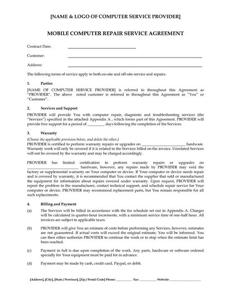 Agreement Letter For Repair Computer Support Computer Support Service Agreement Computer Repair Service Agreement