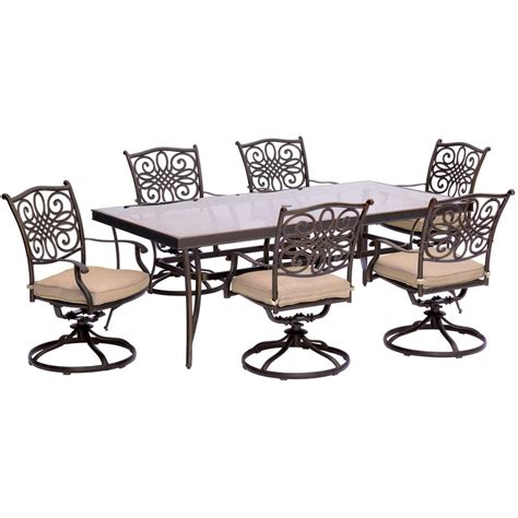 Aluminum Outdoor Dining Chairs Hanover Traditions 7 Aluminum Outdoor Dining Set With Rectangular Glass Table And Swivel