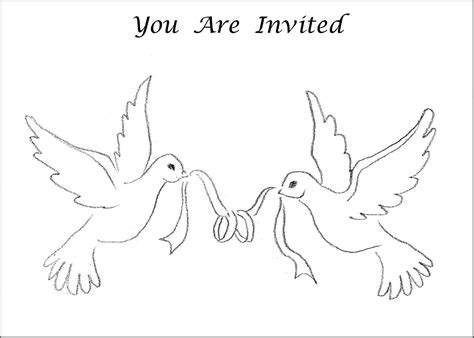 invitation card coloring page 6 best images of printable wedding symbols doves wedding