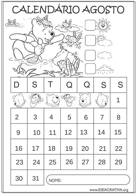 Calendario De Agosto 2015 Calend 225 Rios De Agosto 2015 Turma Do Pooh Para Colorir