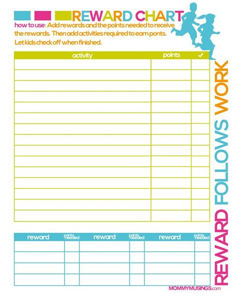 printable daily reward charts free printable kids chore rewards chart kids rewards