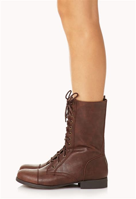 light brown combat boots lyst forever 21 everyday combat boots in brown