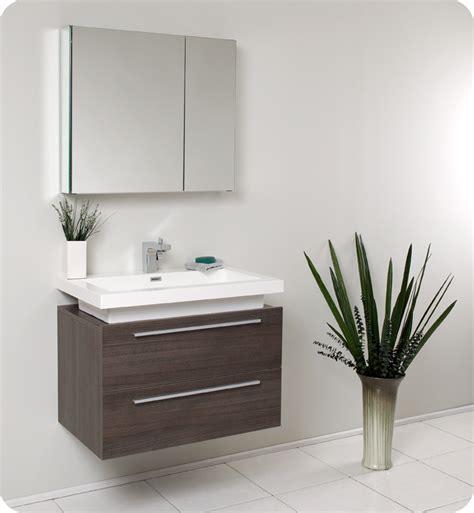 Fresca Medio Gray Oak Modern Bathroom Vanity and Medicine