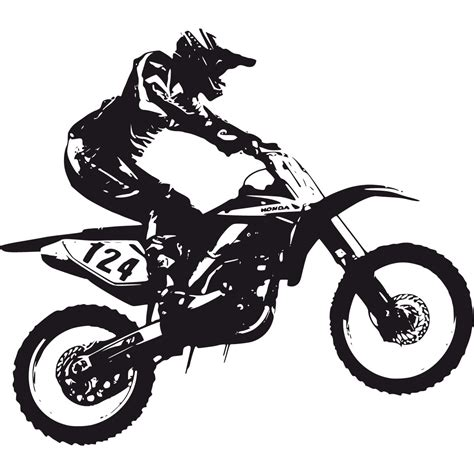 black motocross bike dirt bike black and white clipart