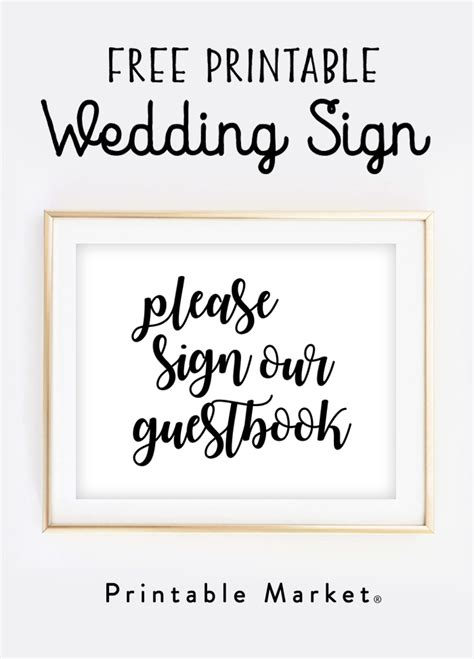 diy wedding sign templates free free wedding sign printable sign our guestbook printable market