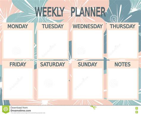 cute blue pink printable weekly planner  flowers stock