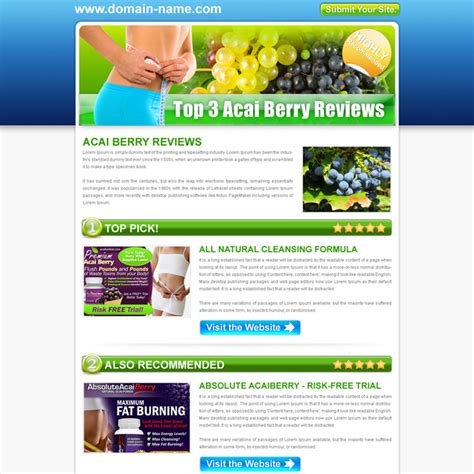 pattern website reviews top 3 acai berry review type html converting landing page