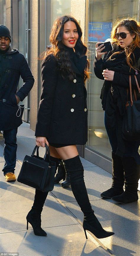 olivia munn boots olivia munn dazzles in over the knee boots before flashing