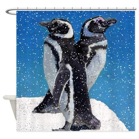 by the sea shower curtain two penguins by the sea shower curtain by pattyspetart