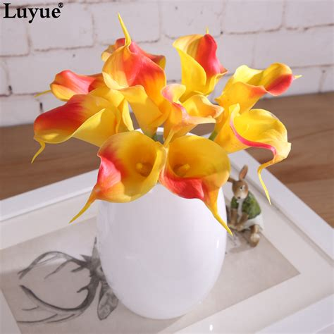 decorative flowers 10pcs real touch lily calla pvc artificial flower bouquets