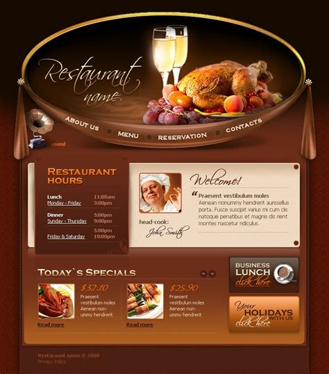 restaurant template cafe and restaurant flash template 20763