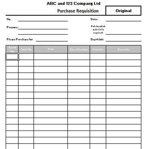 purchase requisition template excel purchase requisition form