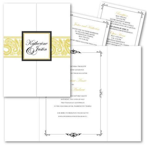 Tri Fold Gold Paisley Wedding Invitation