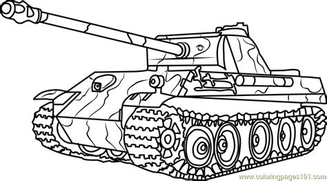 German Panther Army Tank Coloring Page Free Tanks Army Tank Coloring Page