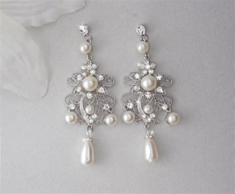 Bridal Earrings Chandelier Earrings Wedding Earrings Chandelier Pearl Earrings For Wedding