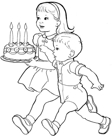 cute baby boy birthday cake colouring page for kids