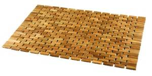 wood shower mat give a accent to your