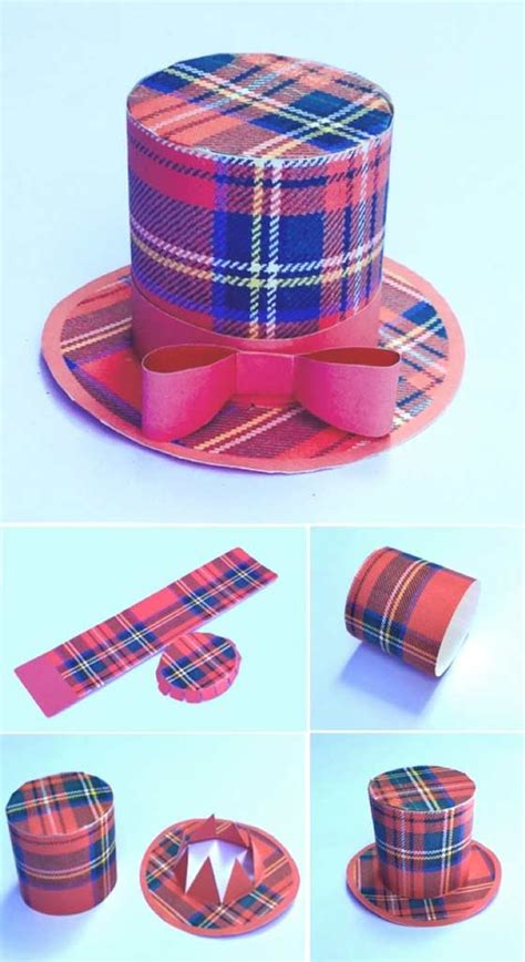 How To Make A Small Hat Out Of Paper - make mini tartan top hats diy templates for scottish