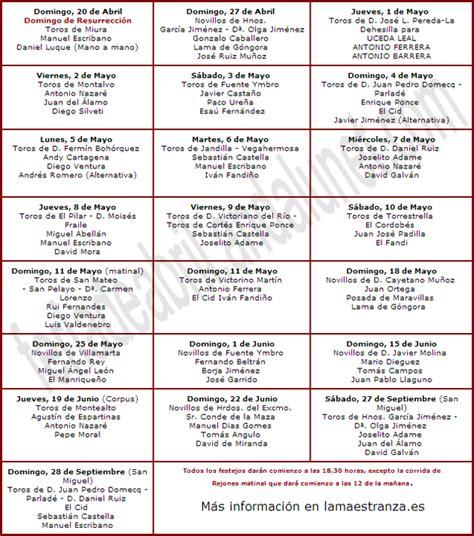 Calendario Taurino 2017 Carteles Taurinos 2014 Feria De Abril De Sevilla 2018