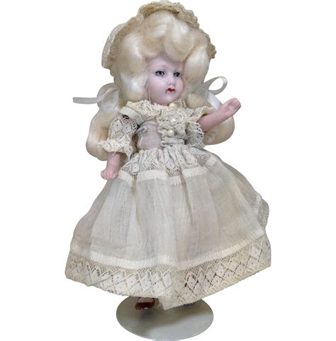 early bisque doll early 20c all bisque doll with mohair wig from