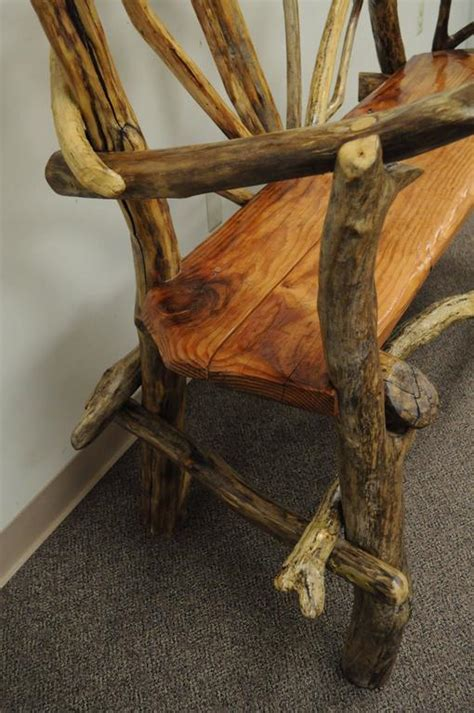 tree log bench rustic handmade artisan crafted solid tree log garden