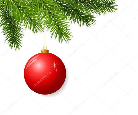 branch with hanging christmas ball stock vector
