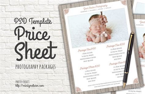 Photography Packages Price List Psd Templates On Creative Market Wedding Photography Price List Template Free