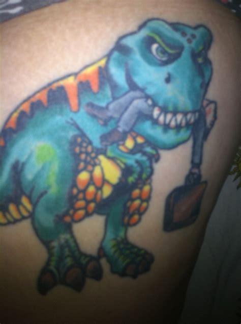 cartoon t rex tattoo t rex tattoo eating a business man yeahhhh pinterest