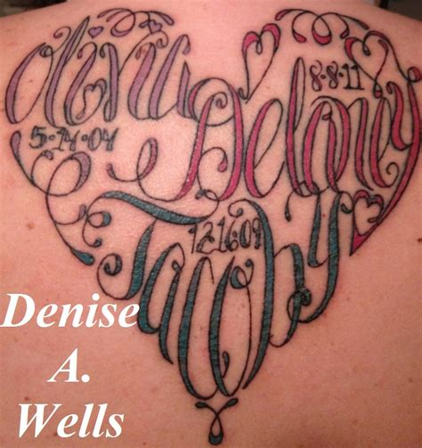 heart tattoo with names names made into a shaped by a