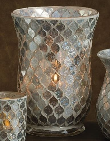 icicle mosaic glass hurricane candle holders set