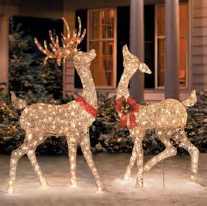 Lighted golden champagne reindeer deer outdoor christmas yard decor