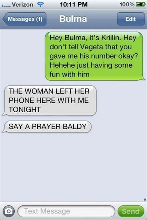 Pics For Gt Funniest Text - don t ever text bulma unless you know vegeta doesn t have